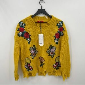 Distressed Yellow Knit Sweater W/Embroidery